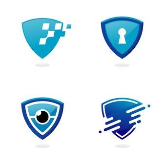 Conjunto de inspiração de design de logotipo de escudo