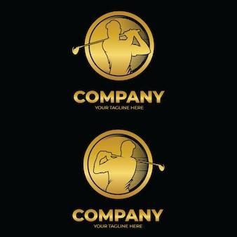 Conjunto de inspiração de design de logotipo de esporte de golfe