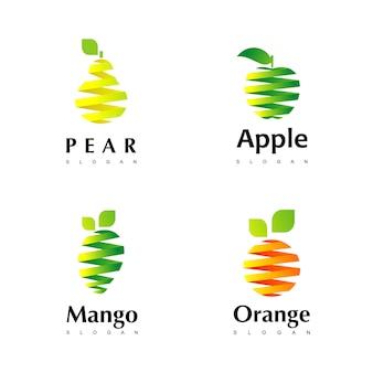 Conjunto de inspiração de design de logotipo de frutas