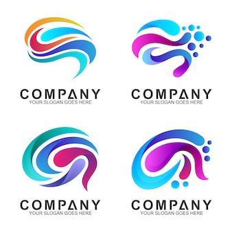 Conjunto de inspiração de design de logotipo do cérebro