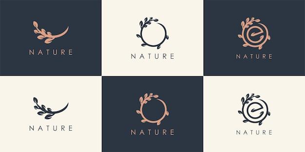 Conjunto de inspiração de logotipo de natureza abstrata