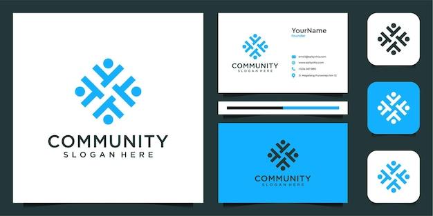Conjunto de inspiração de logotipo e cartão de visita da comunidade