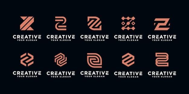 Conjunto de inspiração de modelo de logotipo de monograma letra z inicial
