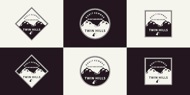 Conjunto de inspiração de montanha de logotipo vintage