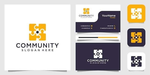 Conjunto de inspiração do logotipo amarelo do quebra-cabeça da comunidade
