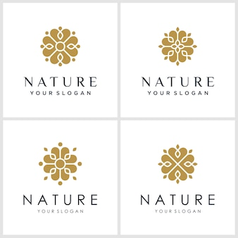 Conjunto de inspiração do logotipo da flor. logotipos podem ser usados para spa, salão de beleza, decoração, boutique.