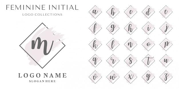Conjunto de inspiração feminina de logotipo inicial