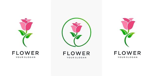 Conjunto de inspiração minimalista elegante flor rosa beleza, cosméticos, ioga e spa. ícone do logotipo vetor premium
