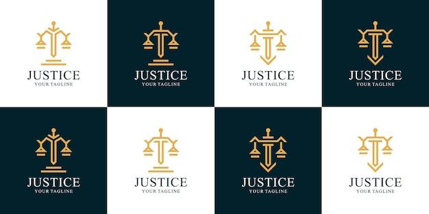 Conjunto de inspiração para logotipo de advogado