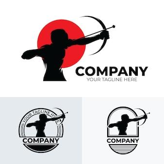 Conjunto de inspiração para o design de logotipo de arco e flecha