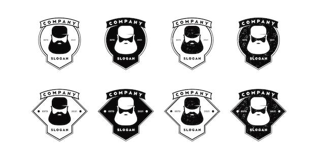 Conjunto de inspiração vintage de logotipo de homem de barba