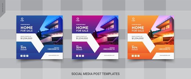 Conjunto de instagram elegante de imóveis ou venda de casa