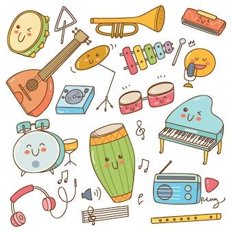 Conjunto de instrumento de música no estilo doodle
