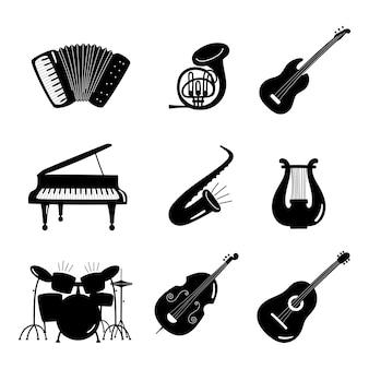 Conjunto de instrumentos de música em preto e branco