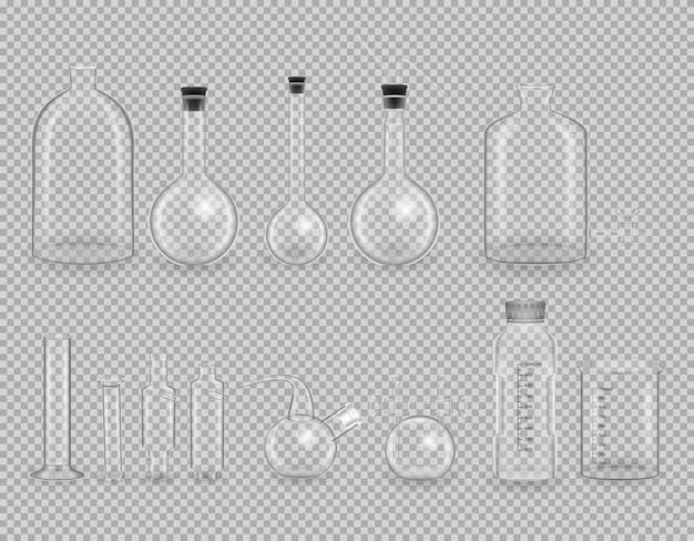 Conjunto de instrumentos de vidro transparente de laboratório