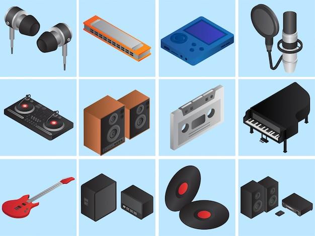 Conjunto de instrumentos musicais 3d