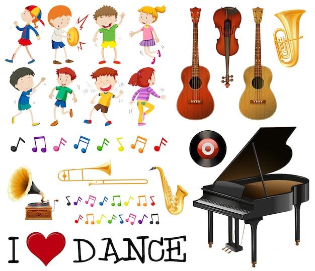 Conjunto de instrumentos musicais com crianças cantando, dançando