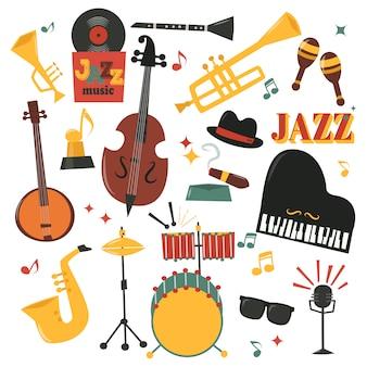 Conjunto de instrumentos musicais com saxofone de piano, microfone