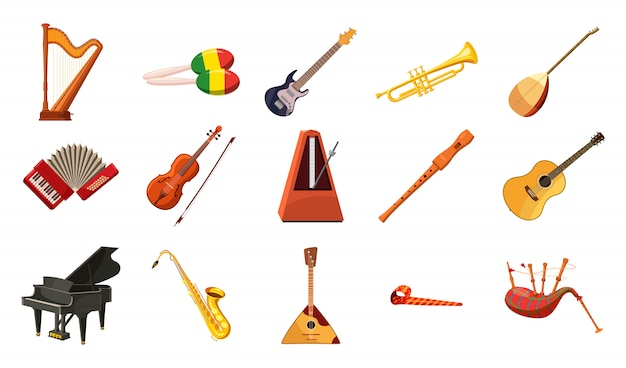 Conjunto de instrumentos musicais. conjunto de desenhos animados de instrumento musical