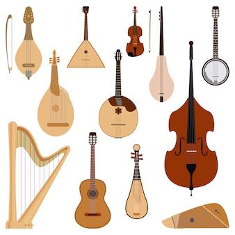Conjunto de instrumentos musicais de cordas