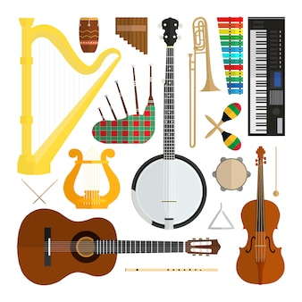 Conjunto de instrumentos musicais de design plano moderno vetor isolado no fundo branco.