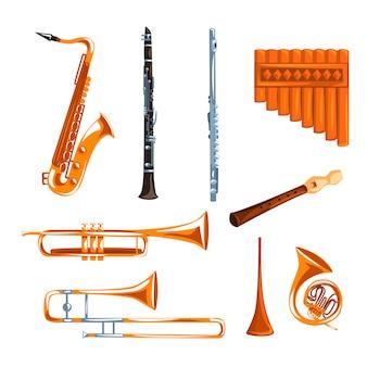 Conjunto de instrumentos musicais de sopro
