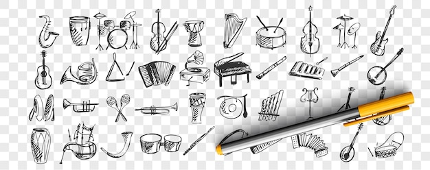Conjunto de instrumentos musicais doodle. coleção de modelos de esboços desenhados à mão padrões de instrumento musical piano bateria guitarra flauta saxofone em fundo transparente. arte e criatividade.