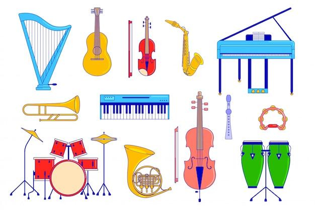 Conjunto de instrumentos musicais em branco, guitarra, piano e bateria, ilustração