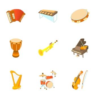 Conjunto de instrumentos musicais, estilo cartoon