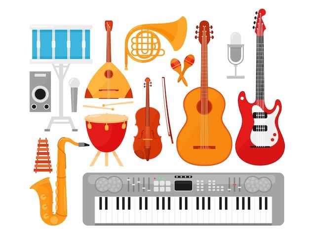 Conjunto de instrumentos musicais. guitarras acústicas e elétricas isoladas no fundo branco.