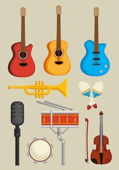 Conjunto de instrumentos musicais ícones