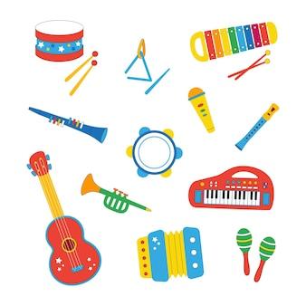 Conjunto de instrumentos musicais infantis desenhados à mão em estilo cartoon