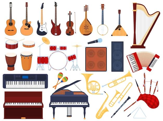 Conjunto de instrumentos musicais, instrumentos musicais de cordas, instrumentos de sopro, bateria, instrumentos musicais de teclado.