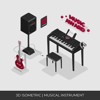 Conjunto de instrumentos musicais isométricos 3d