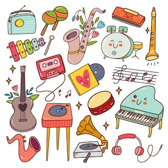 Conjunto de instrumentos musicais kawaii doodle