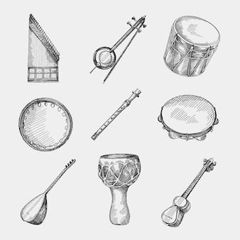 Conjunto de instrumentos musicais nacionais do azerbaijão desenhados à mão. qanun ou kanun, kemenche, boyuk nagara, dilli kaval, daf de qaval, saz ou baglama, alcatrão, dumbek