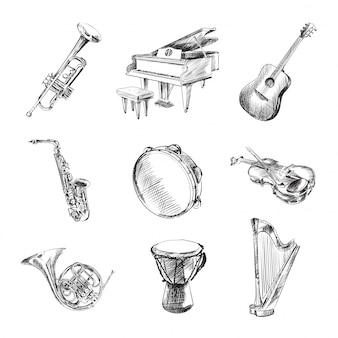 Conjunto de instrumentos musicais preto e branco