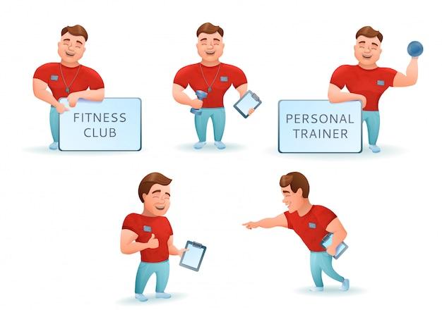 Conjunto de instrutor de fitness pessoal