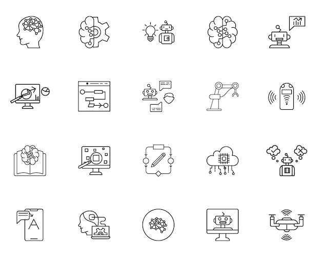 Conjunto de inteligência artificial de ícones de estrutura de tópicos