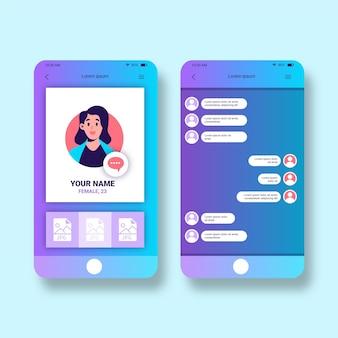 Conjunto de interface de bate-papo do aplicativo de namoro