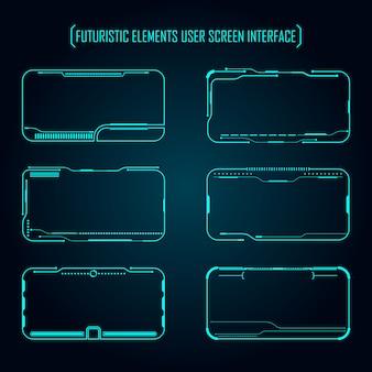 Conjunto de interface de tela de usuário elementos futurista