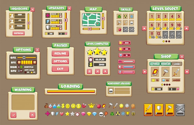 Conjunto de interface do jogo com botões