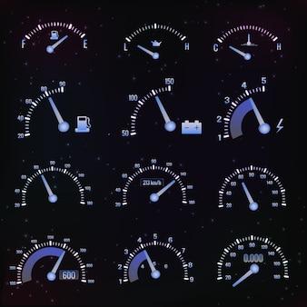 Conjunto de interface do velocímetro escuro