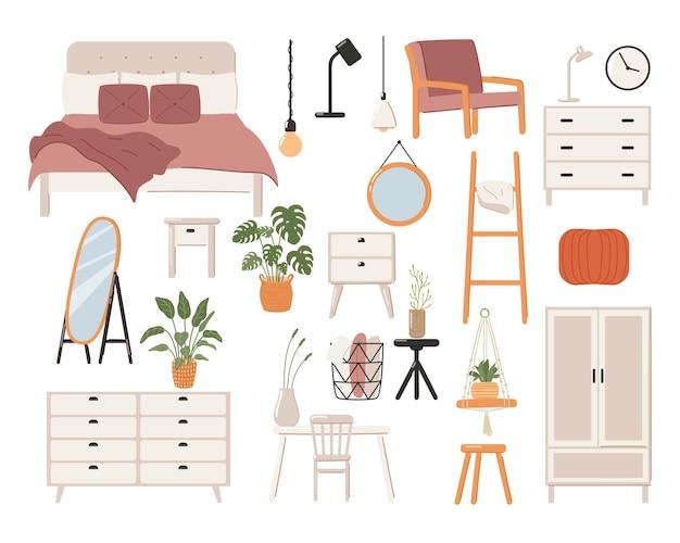 Conjunto de interior elegante quarto escandinavo. cama escandinava moderna, guarda-roupa, espelho, mesa de cabeceira, planta, abajur, decorações para a casa.