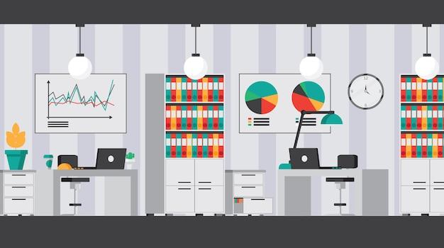 Conjunto de interior plano de escritório