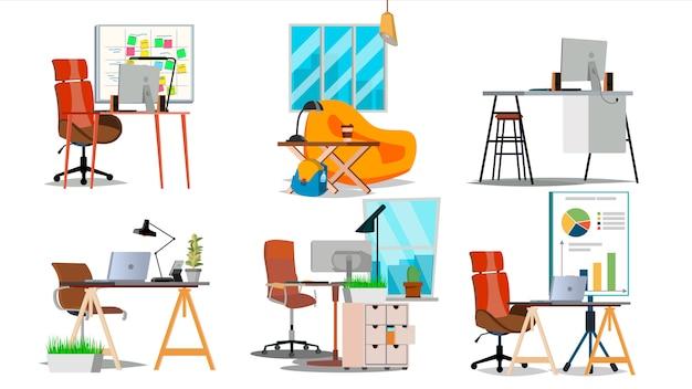 Conjunto de interiores de local de trabalho de escritório