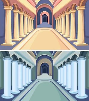 Conjunto de interiores do castelo. salões do palácio com colunas.