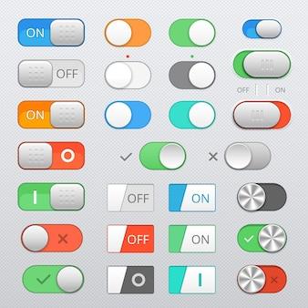 Conjunto de interruptores de alternância, controles deslizantes de ligar e desligar, elementos vetoriais