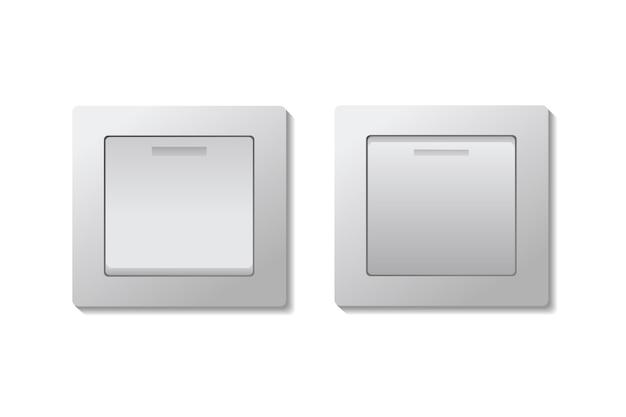 Conjunto de interruptores de luz de alternância ligado e desligado.