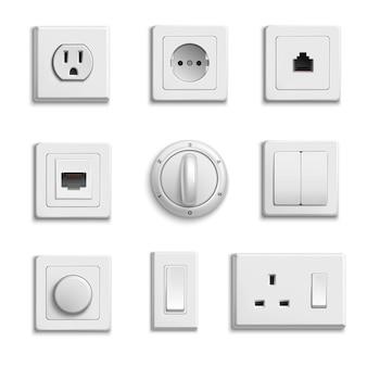 Conjunto de interruptores sockets realistic